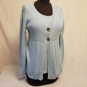 Chico two pieces shirt and cardigan set blue